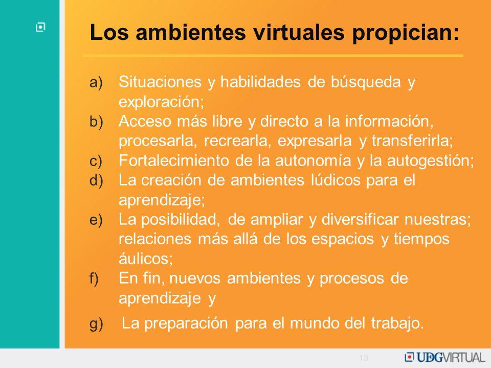 Los ambientes virtuales propician: