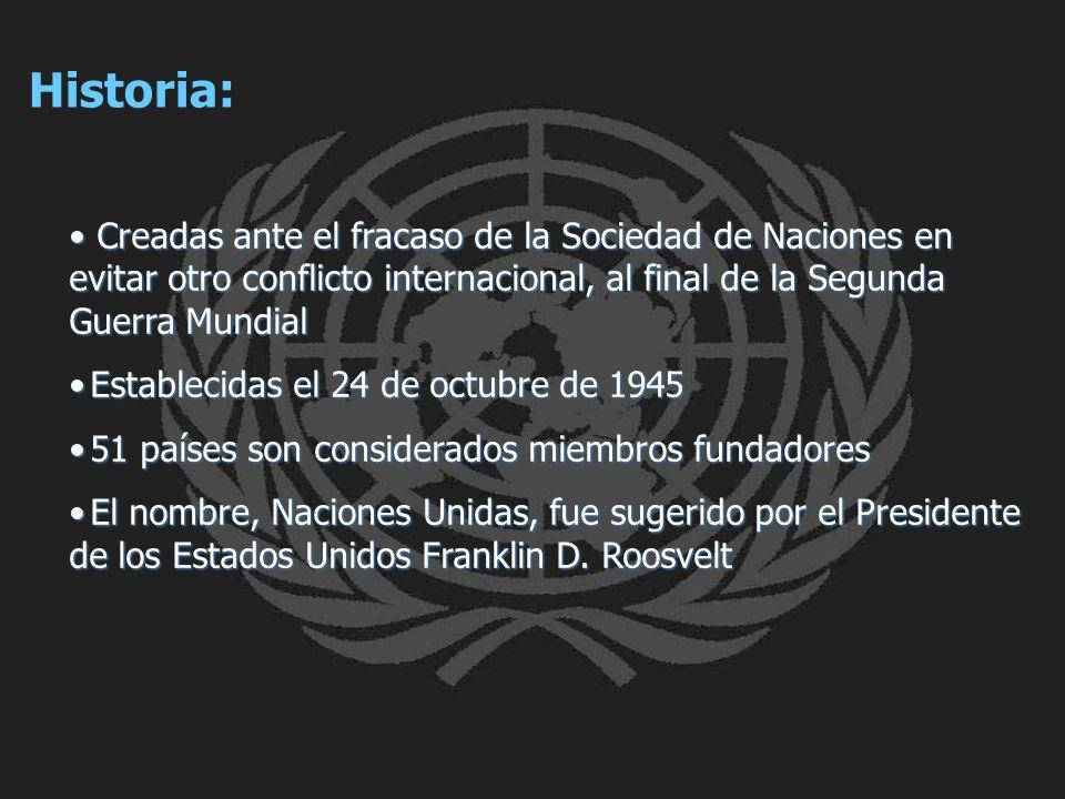 Historia: Creadas ante el fracaso de la Sociedad de Naciones en evitar otro conflicto internacional, al final de la Segunda Guerra Mundial.