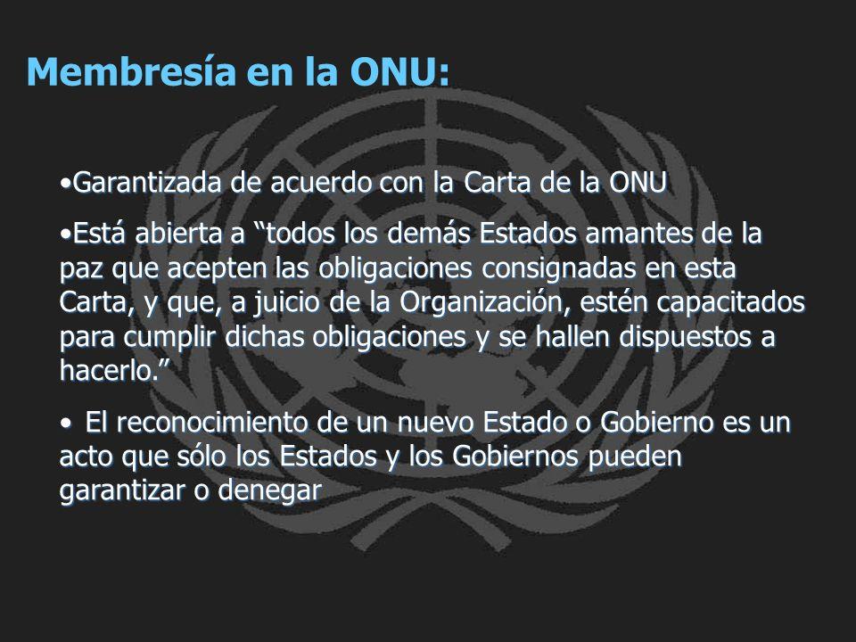 Membresía en la ONU: Garantizada de acuerdo con la Carta de la ONU