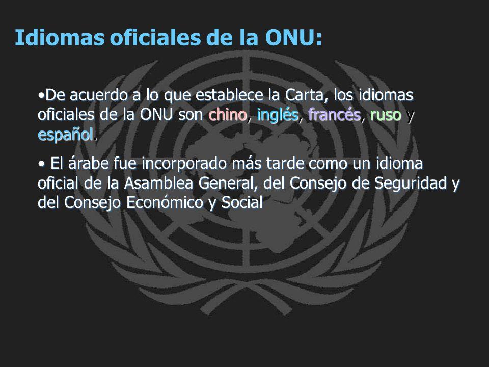 Idiomas oficiales de la ONU: