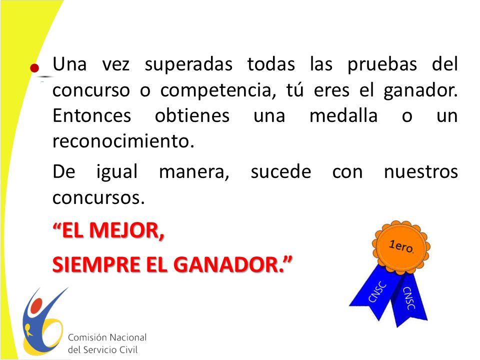 Una vez superadas todas las pruebas del concurso o competencia, tú eres el ganador. Entonces obtienes una medalla o un reconocimiento.