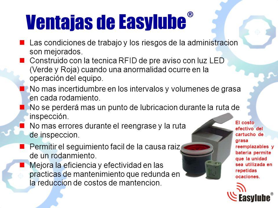 Easylube® Ventajas de. Las condiciones de trabajo y los riesgos de la administracion son mejorados.