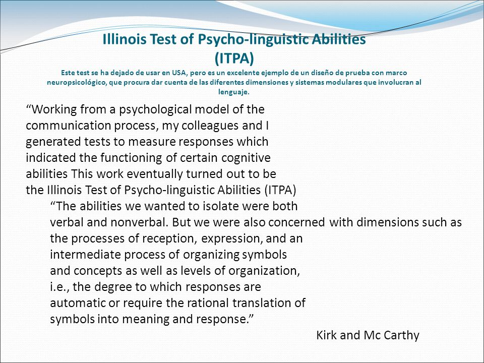 Illinois Test of Psycho-linguistic Abilities