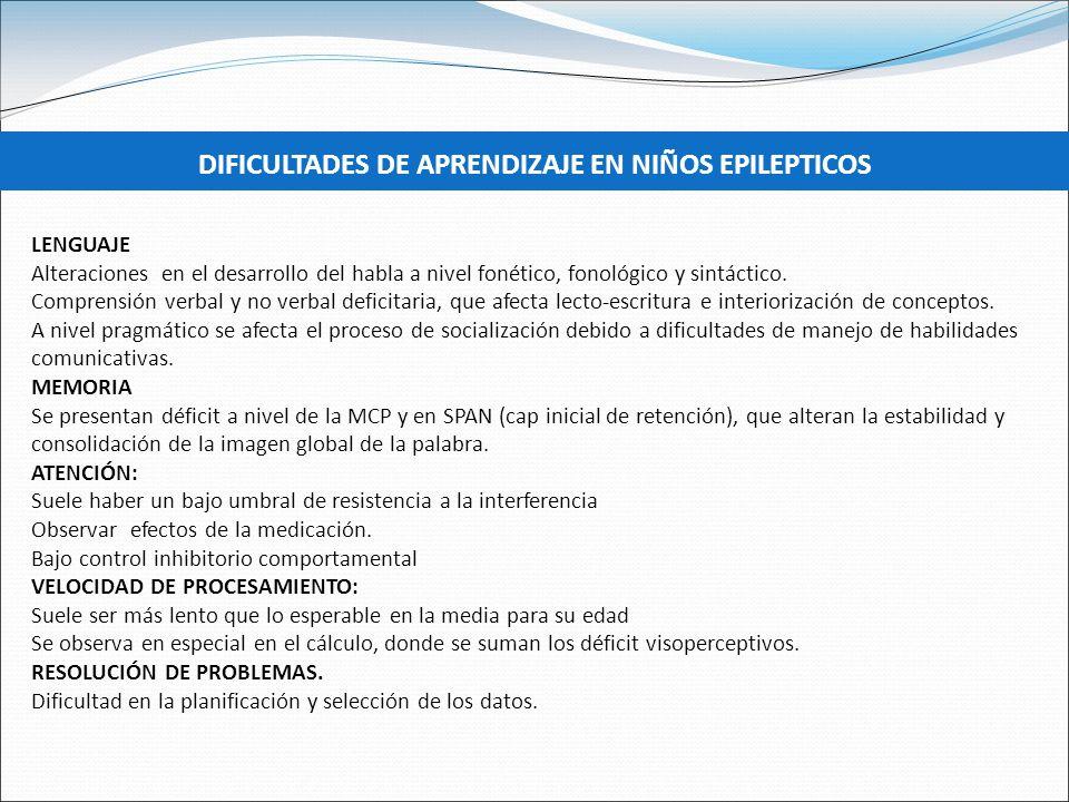 DIFICULTADES DE APRENDIZAJE EN NIÑOS EPILEPTICOS