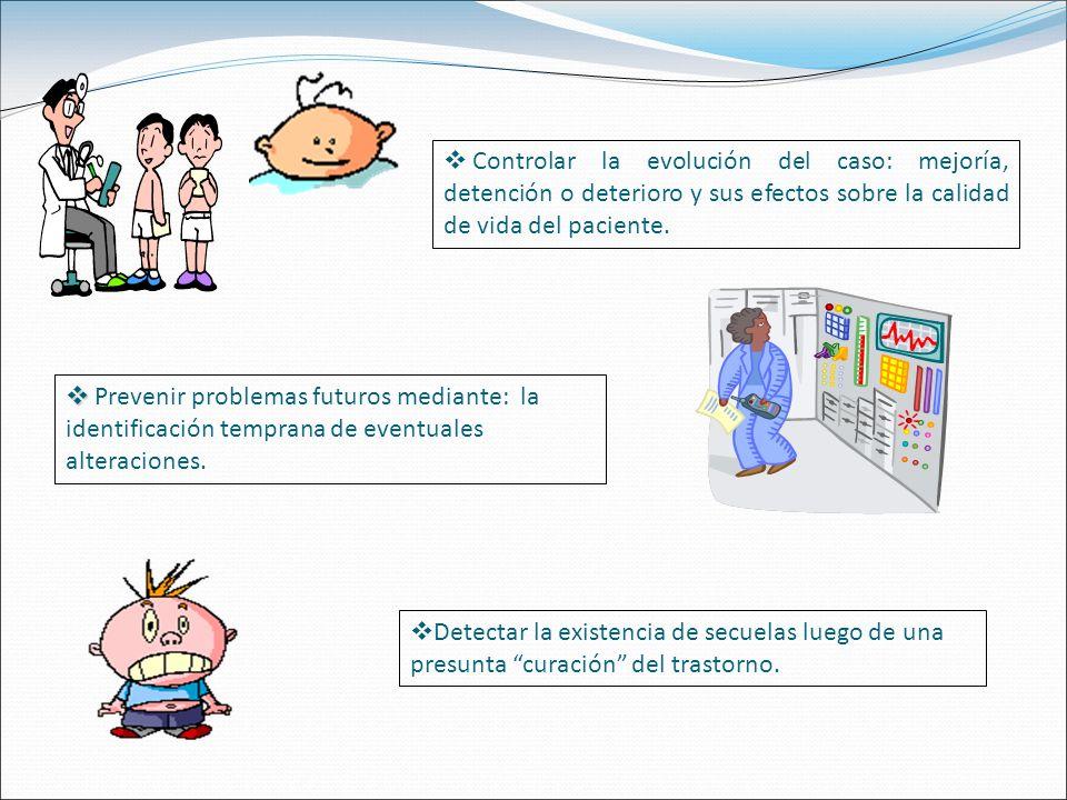 Controlar la evolución del caso: mejoría, detención o deterioro y sus efectos sobre la calidad de vida del paciente.