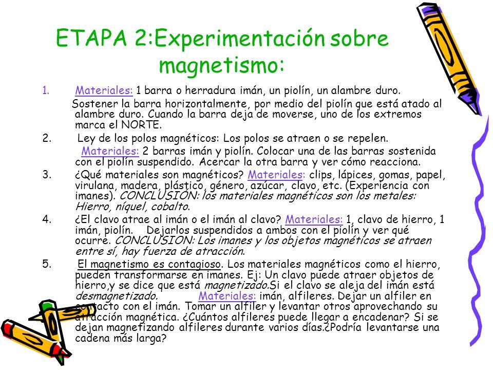 ETAPA 2:Experimentación sobre magnetismo:
