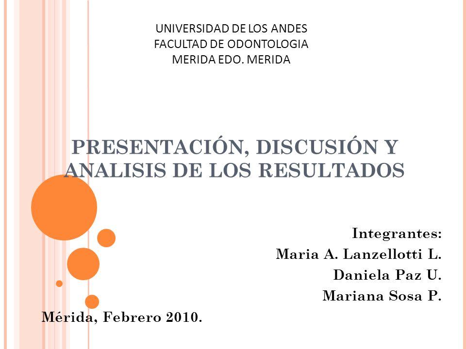PRESENTACIÓN, DISCUSIÓN Y ANALISIS DE LOS RESULTADOS
