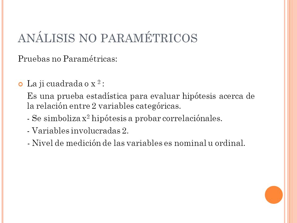 ANÁLISIS NO PARAMÉTRICOS