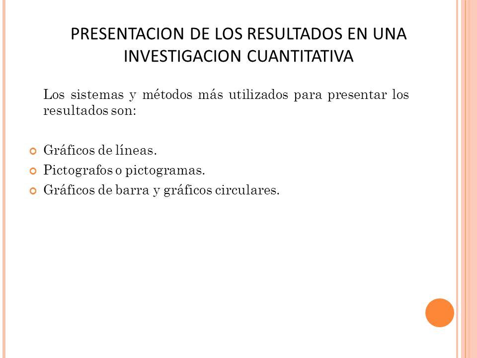 PRESENTACION DE LOS RESULTADOS EN UNA INVESTIGACION CUANTITATIVA