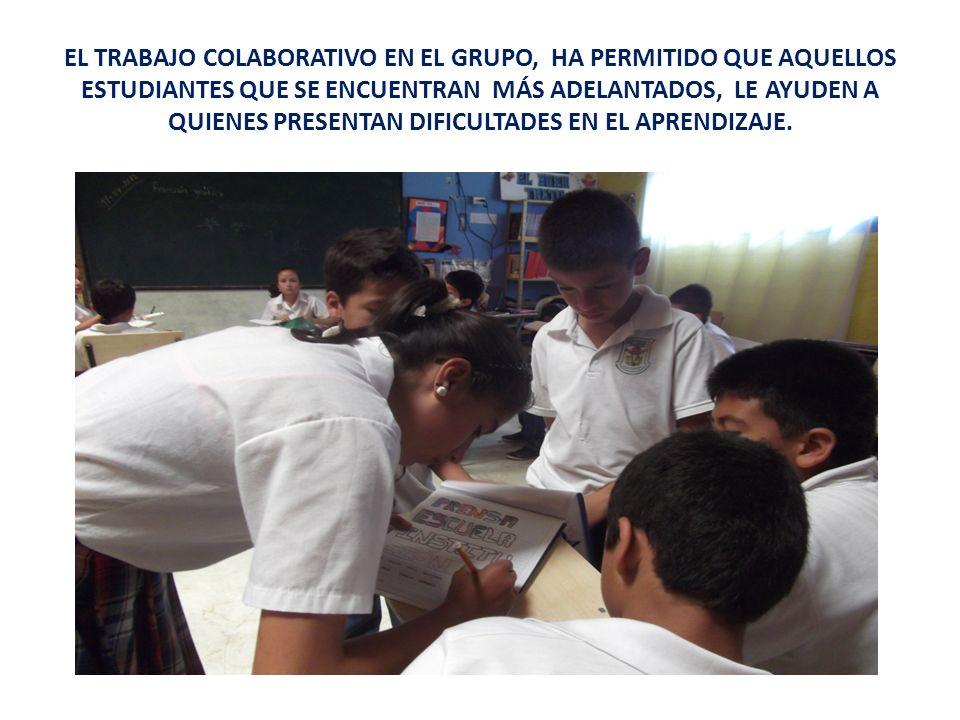 EL TRABAJO COLABORATIVO EN EL GRUPO, HA PERMITIDO QUE AQUELLOS ESTUDIANTES QUE SE ENCUENTRAN MÁS ADELANTADOS, LE AYUDEN A QUIENES PRESENTAN DIFICULTADES EN EL APRENDIZAJE.