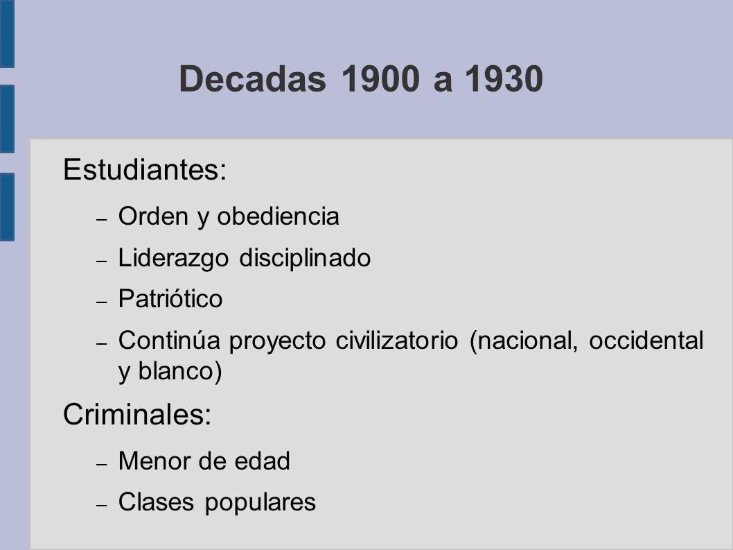 Decadas 1900 a 1930 Estudiantes: Criminales: Orden y obediencia