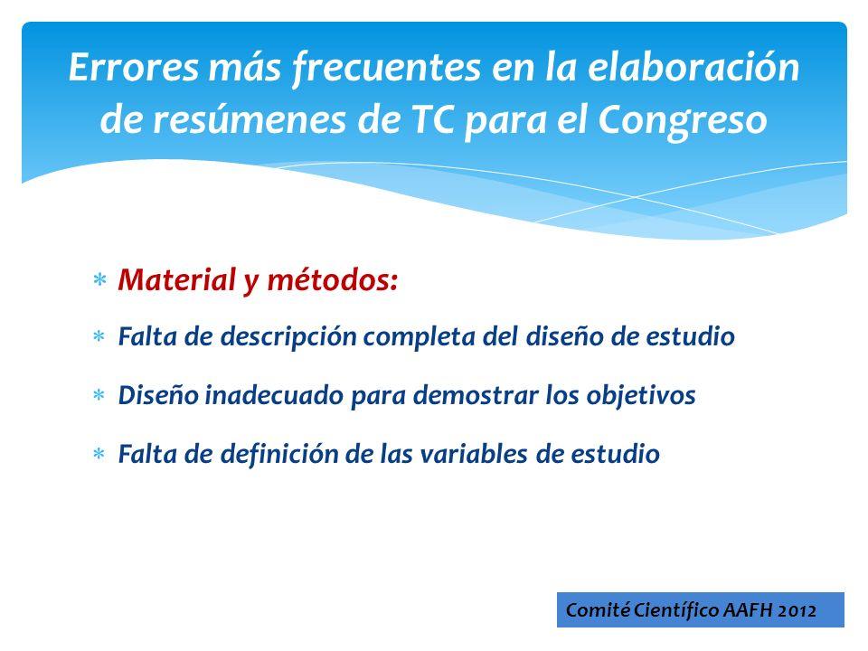 Errores más frecuentes en la elaboración de resúmenes de TC para el Congreso