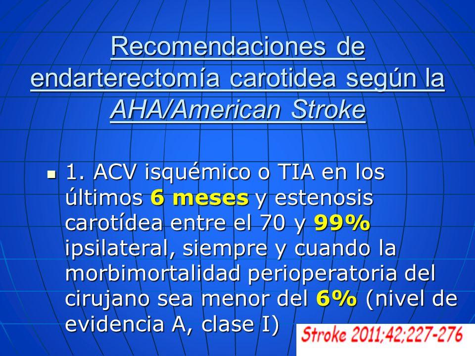 Recomendaciones de endarterectomía carotidea según la AHA/American Stroke