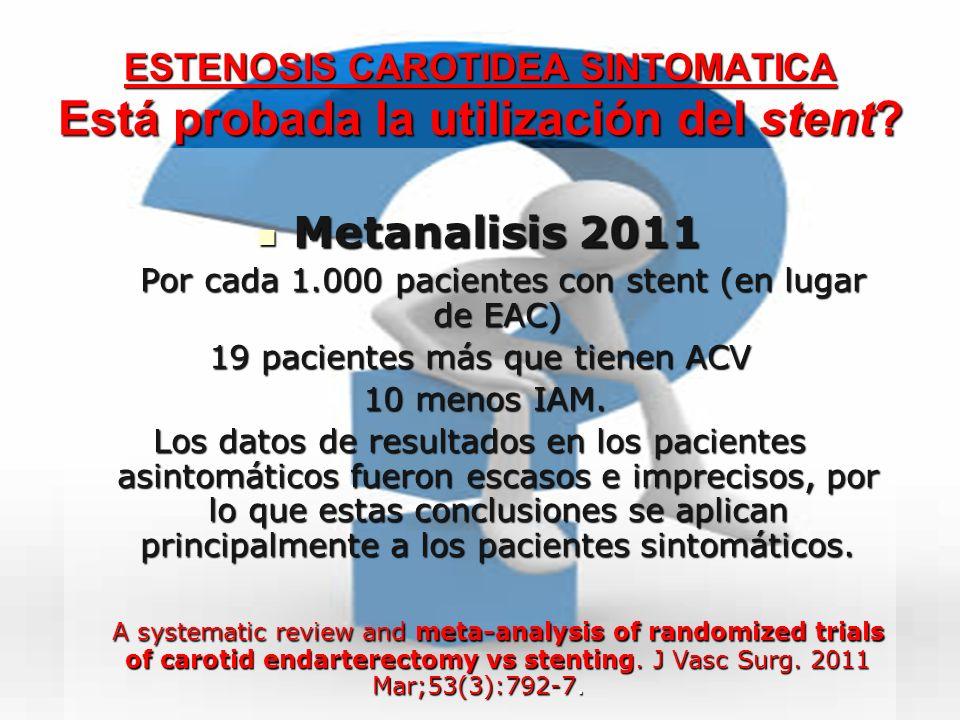 ESTENOSIS CAROTIDEA SINTOMATICA Está probada la utilización del stent