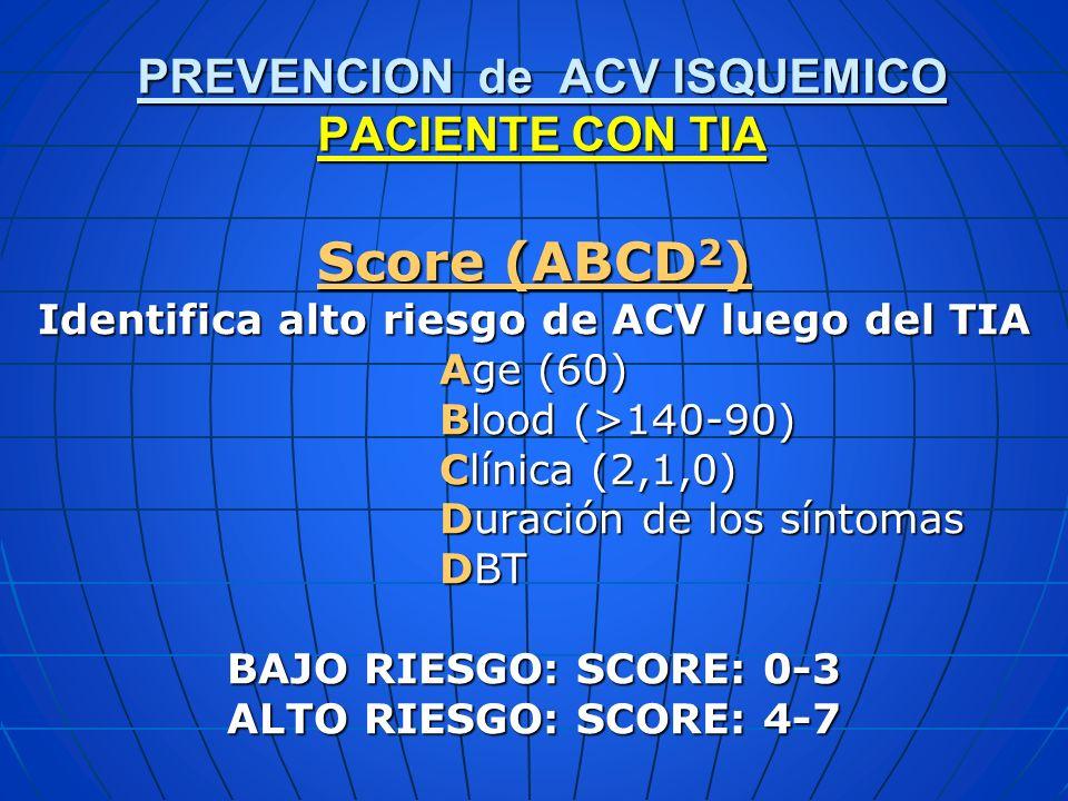 Score (ABCD2) PREVENCION de ACV ISQUEMICO PACIENTE CON TIA