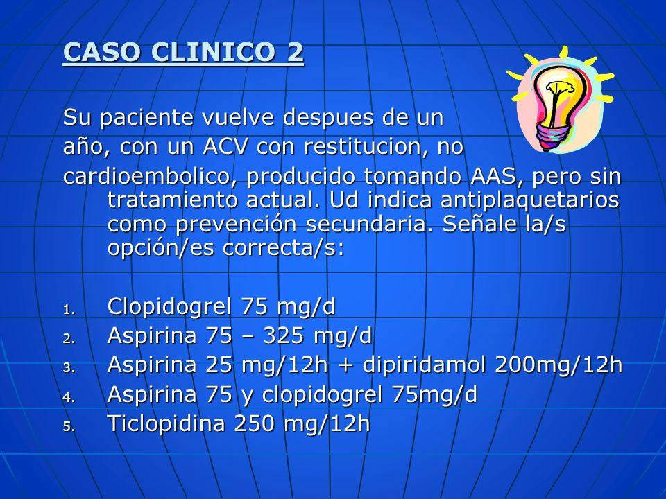 CASO CLINICO 2 Su paciente vuelve despues de un