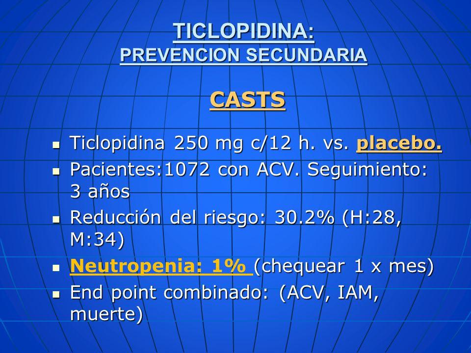 TICLOPIDINA: PREVENCION SECUNDARIA
