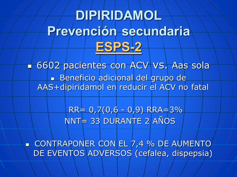 DIPIRIDAMOL Prevención secundaria ESPS-2