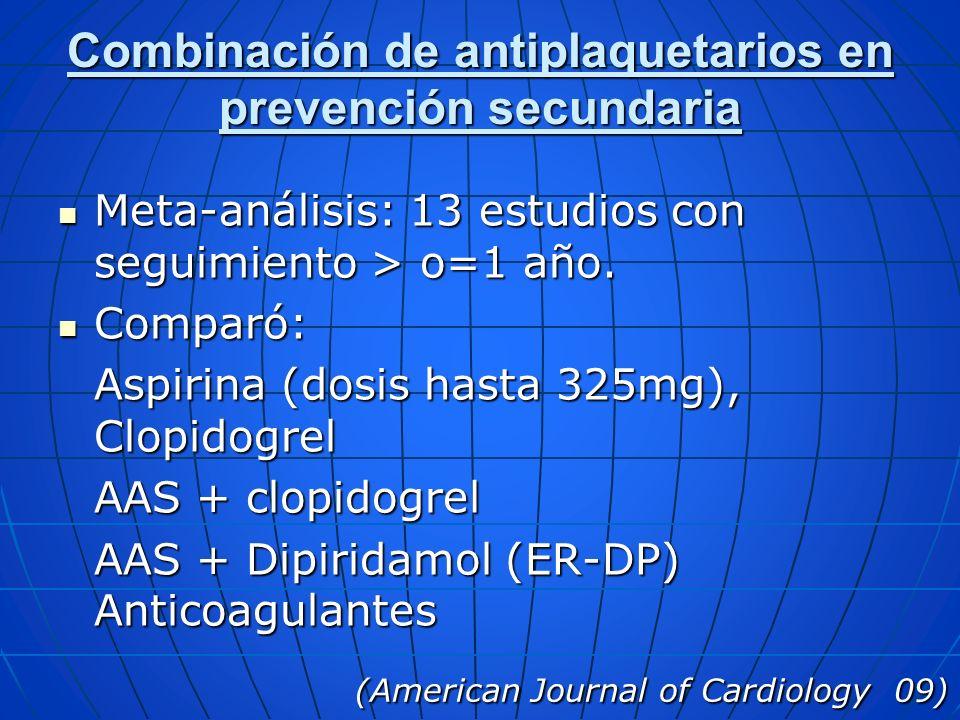 Combinación de antiplaquetarios en prevención secundaria
