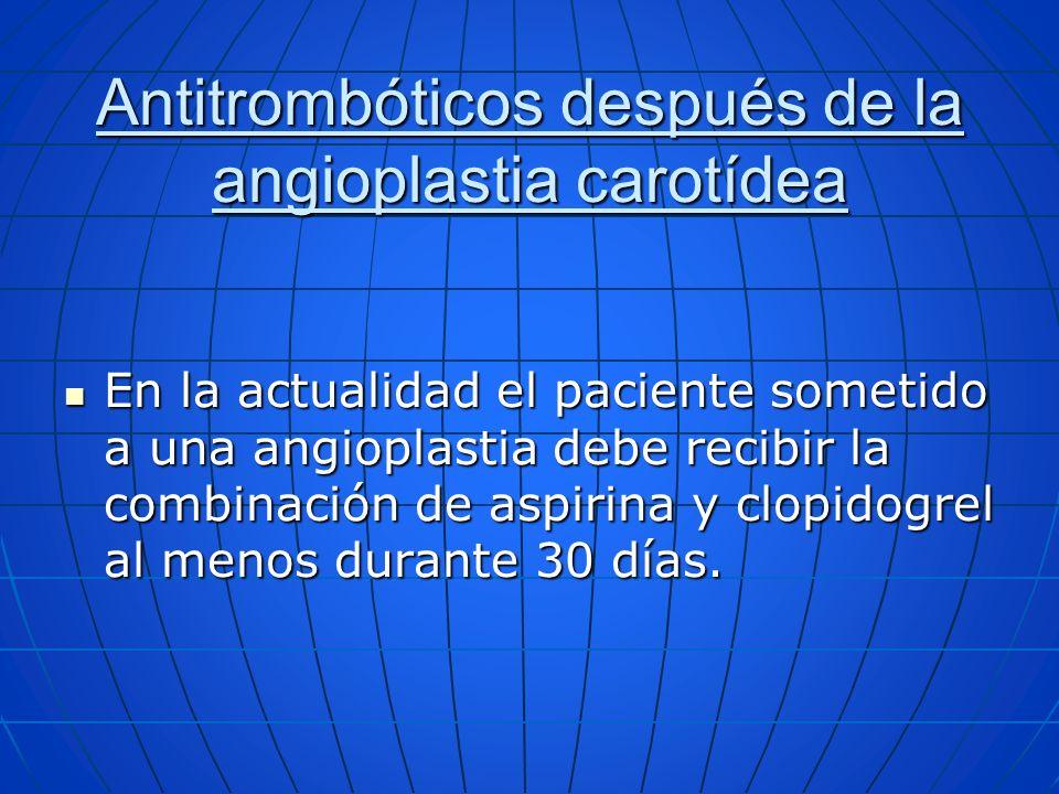 Antitrombóticos después de la angioplastia carotídea