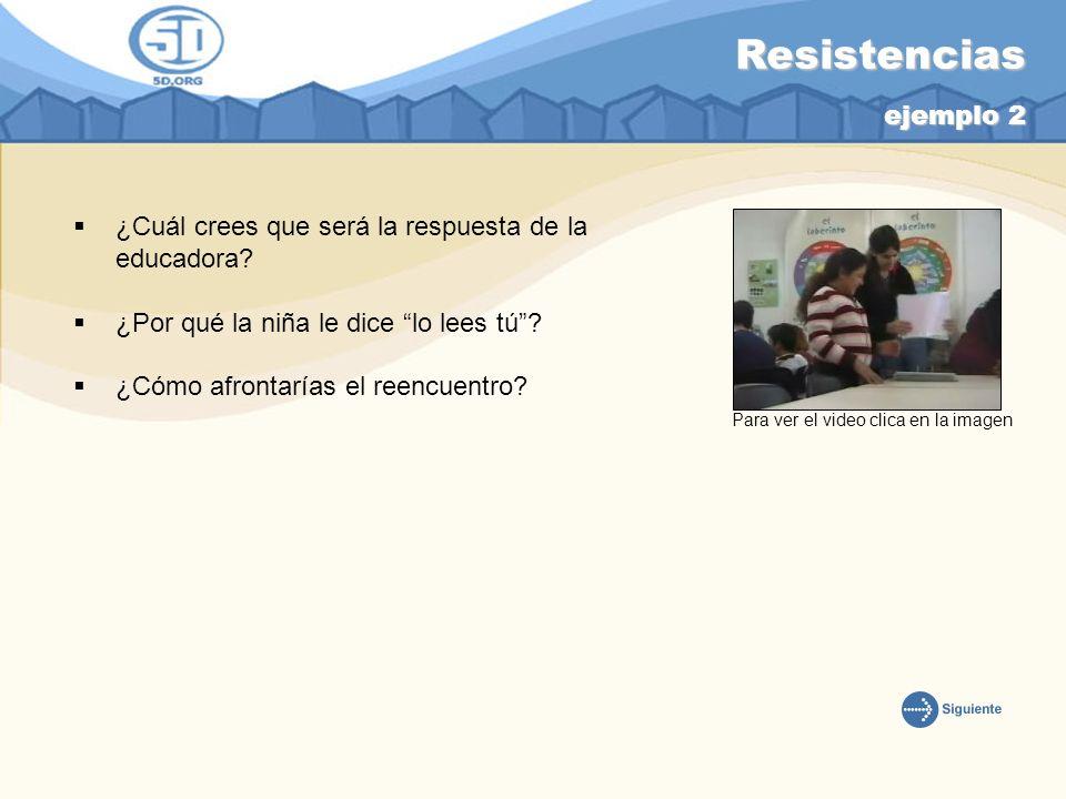 Resistencias ejemplo 2 ¿Cuál crees que será la respuesta de la educadora ¿Por qué la niña le dice lo lees tú