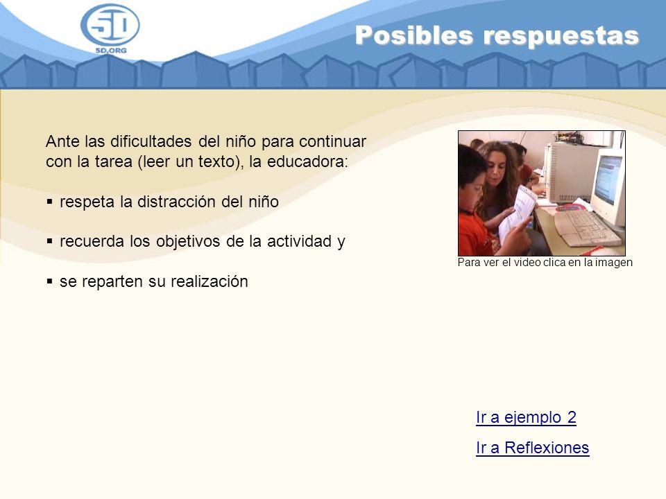 Posibles respuestas Ante las dificultades del niño para continuar con la tarea (leer un texto), la educadora: