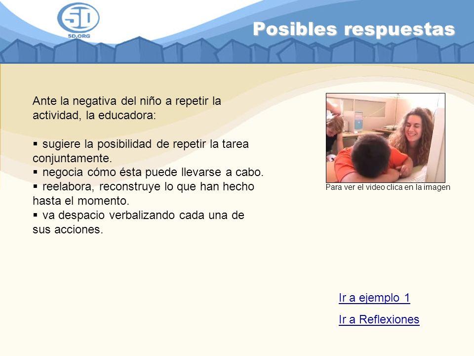 Posibles respuestas Ante la negativa del niño a repetir la actividad, la educadora: sugiere la posibilidad de repetir la tarea conjuntamente.