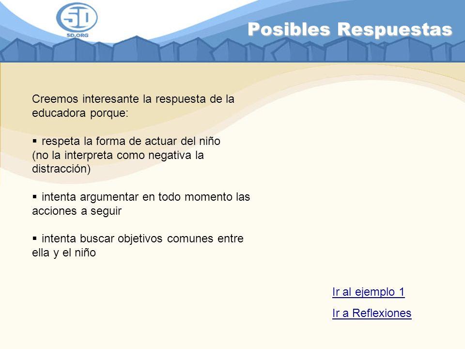 Posibles Respuestas Creemos interesante la respuesta de la educadora porque: respeta la forma de actuar del niño.