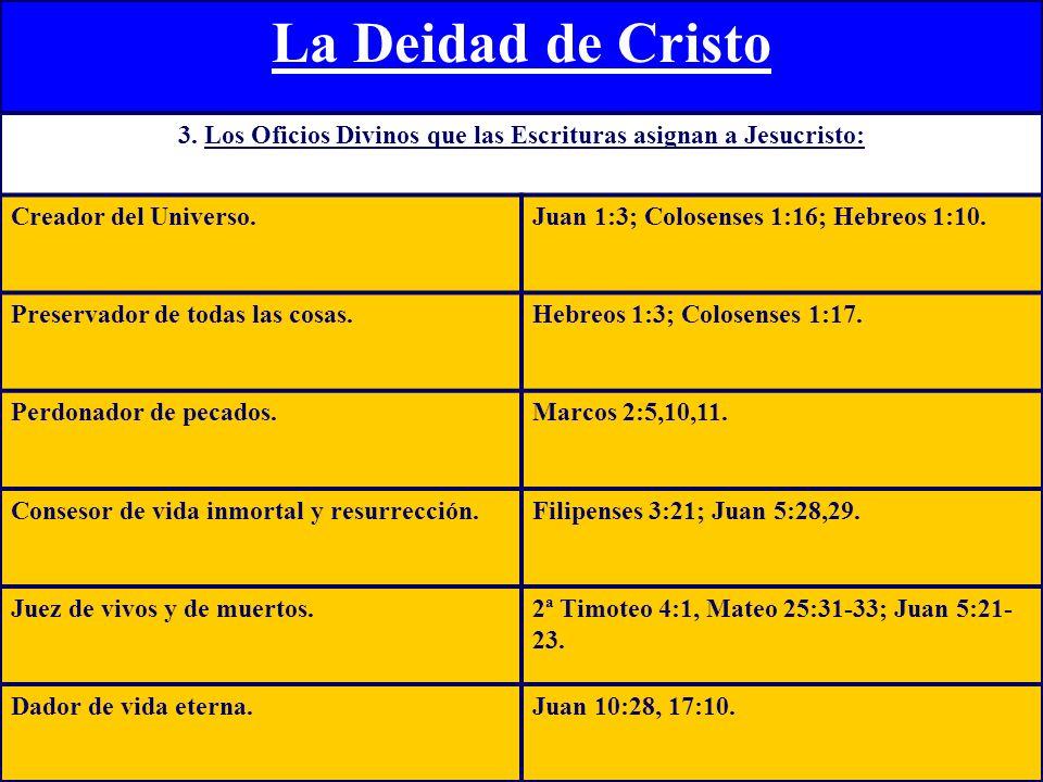 3. Los Oficios Divinos que las Escrituras asignan a Jesucristo: