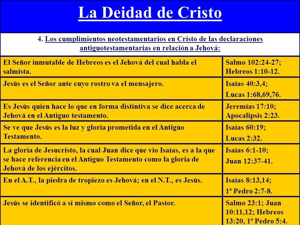 La Deidad de Cristo 4. Los cumplimientos neotestamentarios en Cristo de las declaraciones antiguotestamentarias en relación a Jehová: