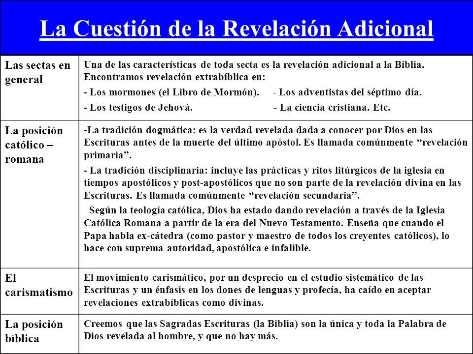 La Cuestión de la Revelación Adicional