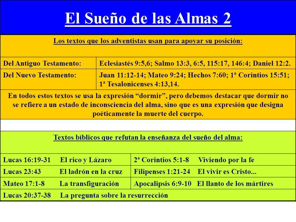 El Sueño de las Almas 2 Los textos que los adventistas usan para apoyar su posición: Del Antiguo Testamento: