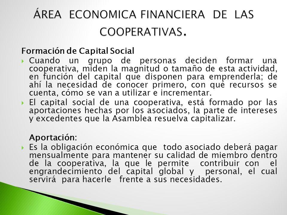 ÁREA ECONOMICA FINANCIERA DE LAS COOPERATIVAS.