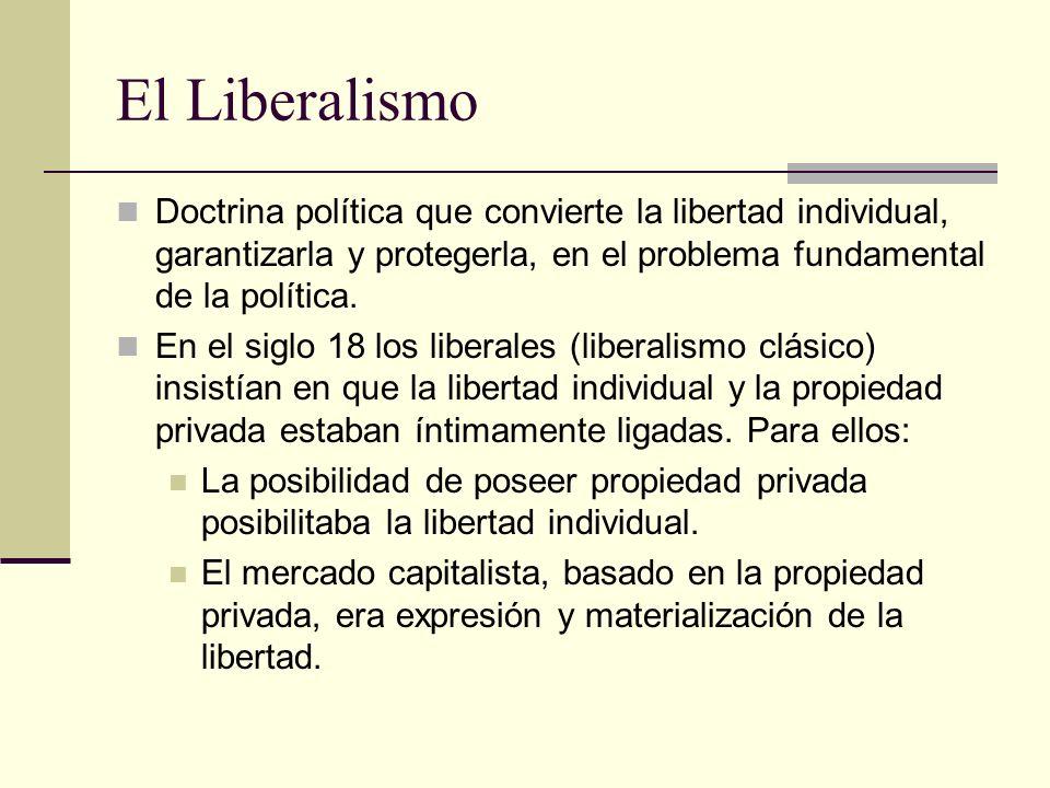 El Liberalismo Doctrina política que convierte la libertad individual, garantizarla y protegerla, en el problema fundamental de la política.