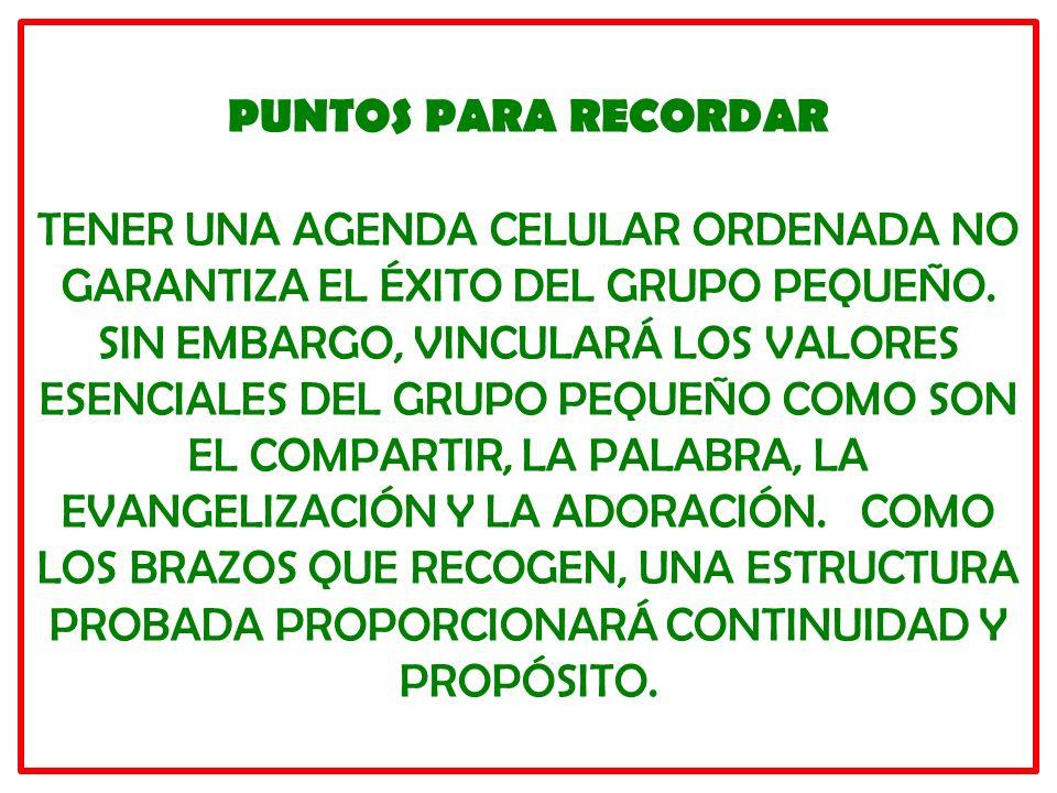 PUNTOS PARA RECORDAR TENER UNA AGENDA CELULAR ORDENADA NO GARANTIZA EL ÉXITO DEL GRUPO PEQUEÑO.