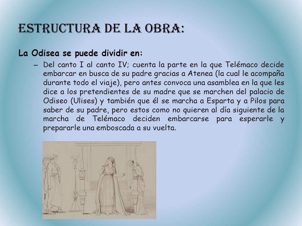 Estructura de la obra: La Odisea se puede dividir en: