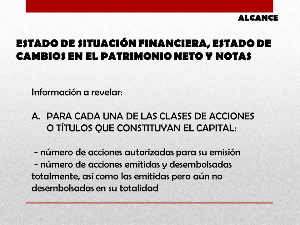 ALCANCE ESTADO DE SITUACIÓN FINANCIERA, ESTADO DE CAMBIOS EN EL PATRIMONIO NETO Y NOTAS. Información a revelar: