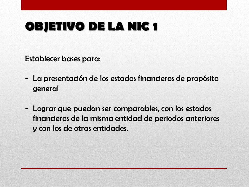 OBJETIVO DE LA NIC 1 Establecer bases para: