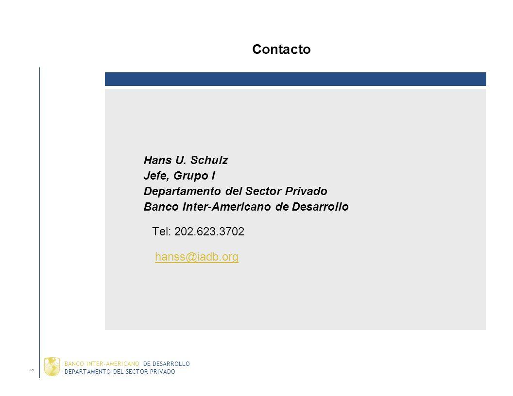 Contacto Hans U. Schulz Jefe, Grupo I Departamento del Sector Privado