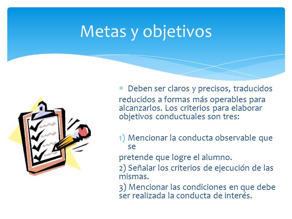 Metas y objetivos Deben ser claros y precisos, traducidos