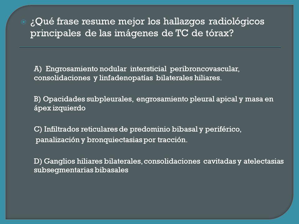 ¿Qué frase resume mejor los hallazgos radiológicos principales de las imágenes de TC de tórax
