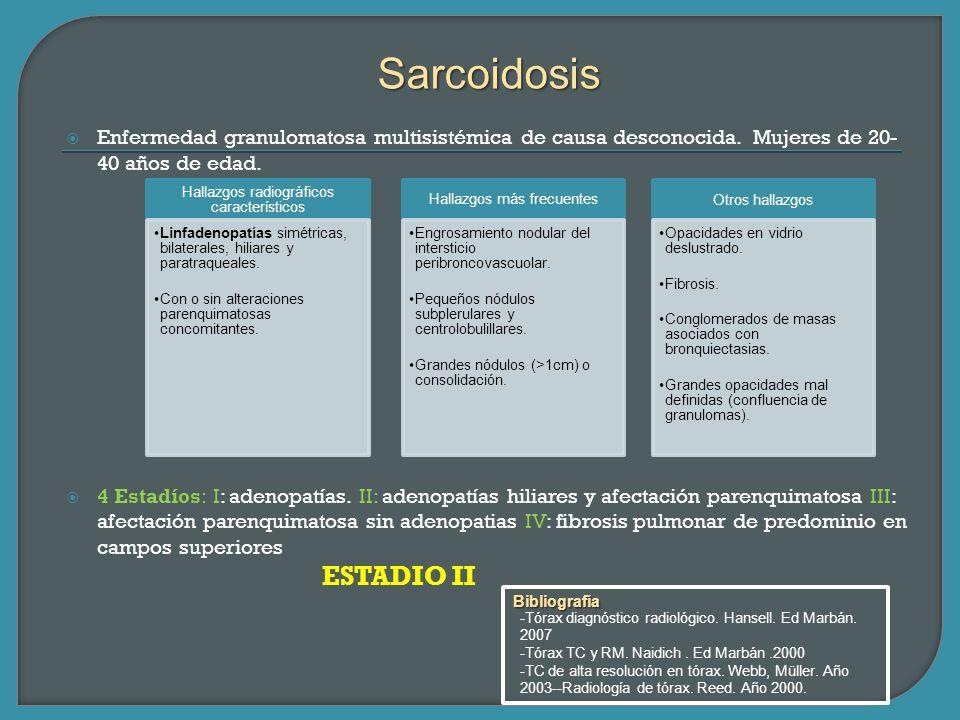 Sarcoidosis Enfermedad granulomatosa multisistémica de causa desconocida. Mujeres de 20-40 años de edad.