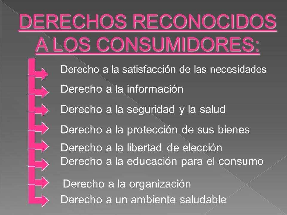 DERECHOS RECONOCIDOS A LOS CONSUMIDORES: Derecho a la información