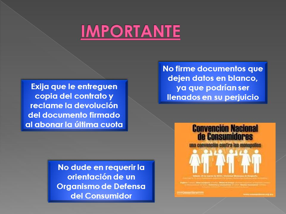 IMPORTANTE No firme documentos que dejen datos en blanco,