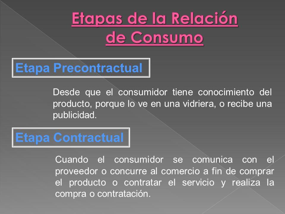 Etapas de la Relación de Consumo