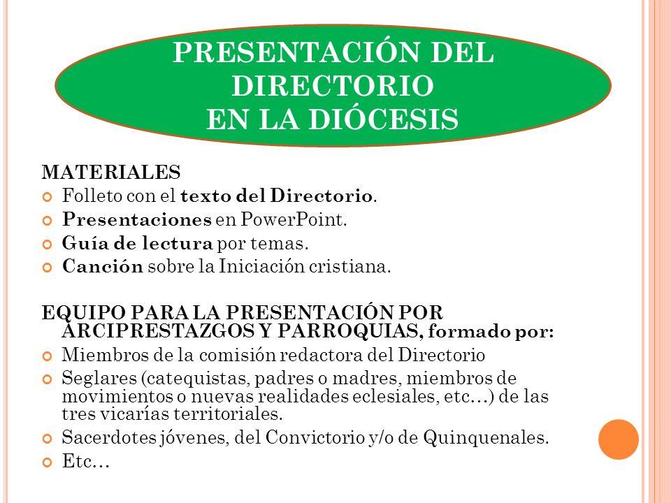 PRESENTACIÓN DEL DIRECTORIO EN LA DIÓCESIS