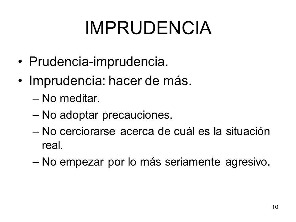 IMPRUDENCIA Prudencia-imprudencia. Imprudencia: hacer de más.