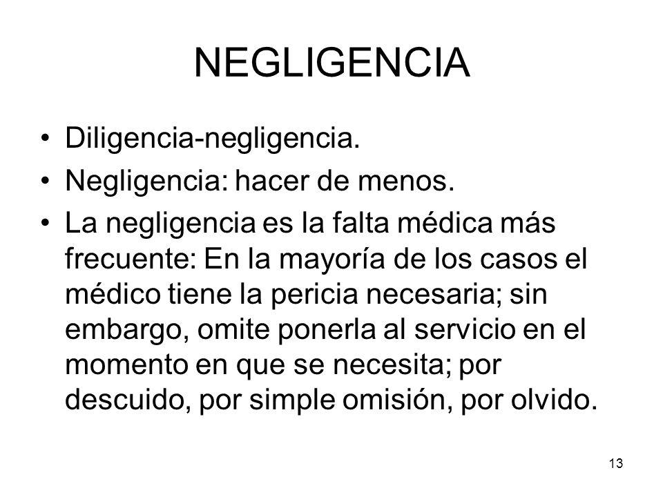 NEGLIGENCIA Diligencia-negligencia. Negligencia: hacer de menos.