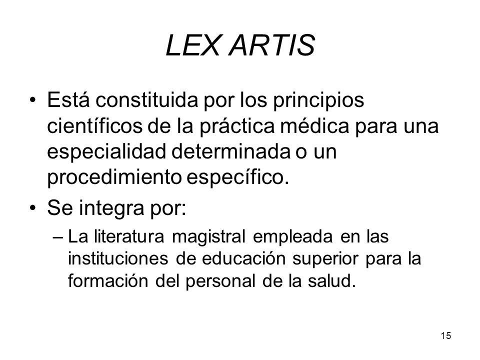 LEX ARTIS Está constituida por los principios científicos de la práctica médica para una especialidad determinada o un procedimiento específico.