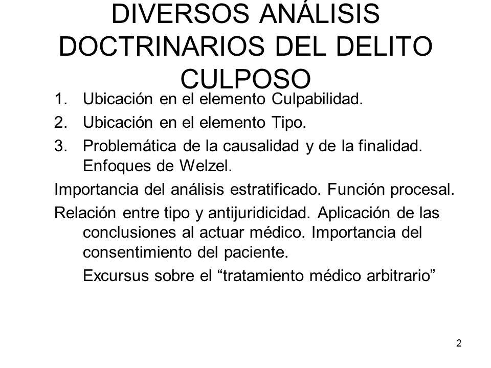 DIVERSOS ANÁLISIS DOCTRINARIOS DEL DELITO CULPOSO